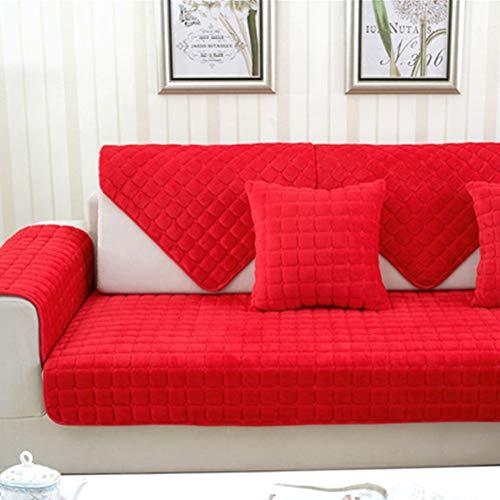 TopJizun, fluweel, fluweel, antislip, dikke sectionele bankhoes, plaid, gewatteerd, sofa-afdekking voor hoekbank liefdesbezahl 90x210cm rood