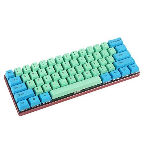 YMDK 61 ANSI Keyset, OEM-Profil, dicke PBT-Tastenkappe, geeignet für Cherry MX Schalter, mechanische Gaming-Tastatur GK61 (nur Tastenkappe) Blau/Grün Gemischter Top Print