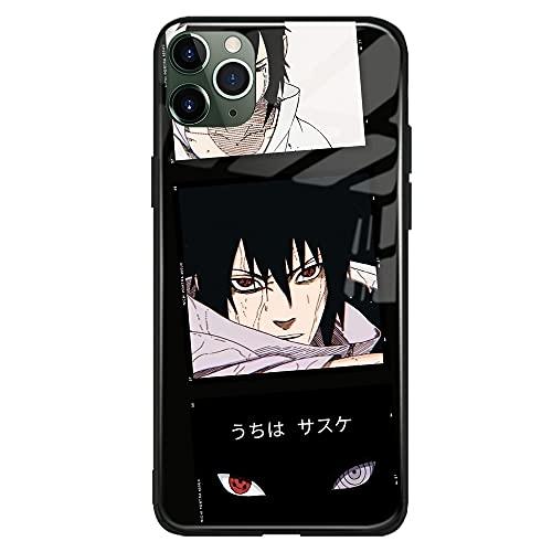 Sasuke Uchiha Naruto Anime Manga Japonesa Compatible con iPhone Funda Carcasa Carcasa de Cristal Templado (Brillante), iPhone 11 Pro