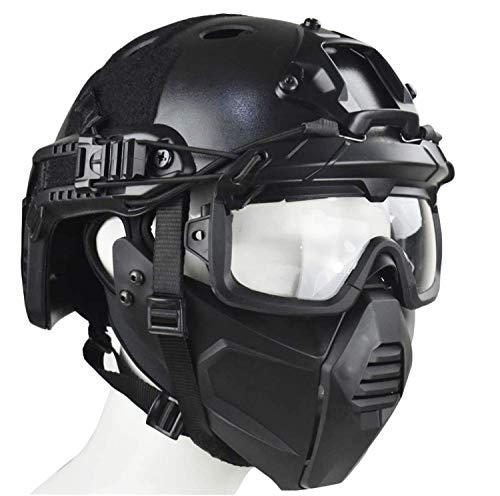 WLXW Tactical Airsoft Mask/PJ Type Tactical Paintball Helm und Tactical Brille Mit Doppeltem Trage-Modus Für Airsoft Paintball Schutzausrüstung, Halloween, Cosplay,Schwarz