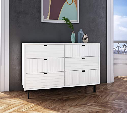 Limari Home Artesia Collection Modern Style Bedroom Matte 6 Drawer Double Dresser with Metal Legs & Handles, White