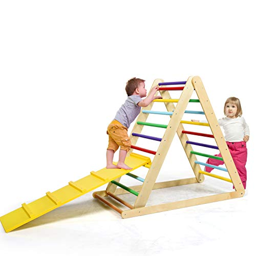HONEY JOY Foldable Climbing Triangle Ladder with Ramp, 2 in 1 Wooden Triangle Climber Ladder with Slide for Toddler, Large Indoor Safe Climbing Toys for Boys Girls 3 Years Old+ (Colorful)