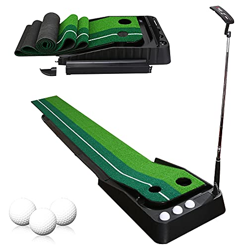 TolleTour Golf Putting Mat Indoor, Golf Putting Green Mat Indoor and Outdoor, Training Aid Equipment Improve Your Batting Skills and Score, con 3 Bolas un Palo de Golf
