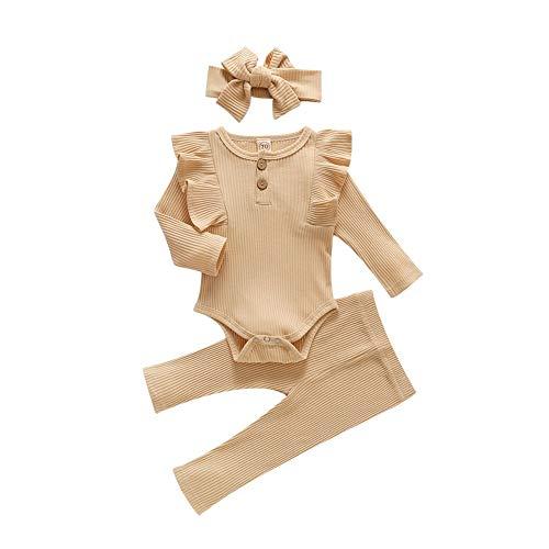 Miyanuby Kleinkind Baby Mädchen Outfit Set Crewneck Rüschen Strampler Bodysuit Hosen Kleidung Set mit Stirnband