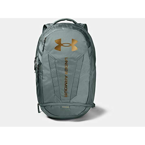 Under Armour Adult Hustle 5.0 Backpack , Lichen Blue (424)/Metallic Gold Luster , One Size Fits All