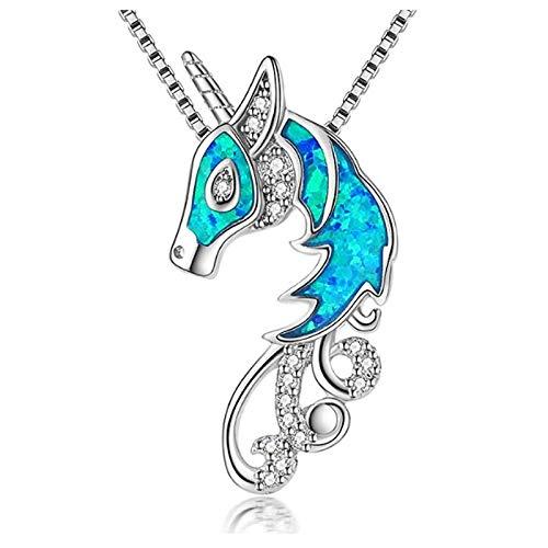 YioKpro Nouvelle Mode et Populaire Luxe Opale Licorne Pendentif pour Filles Cadeaux de fête d'anniversaire Accessoires de Charme Collier Bijoux