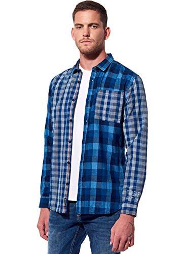 Kaporal - Chemise à Carreaux régular Homme en 100% Coton - Duran - Homme - L - Bleu
