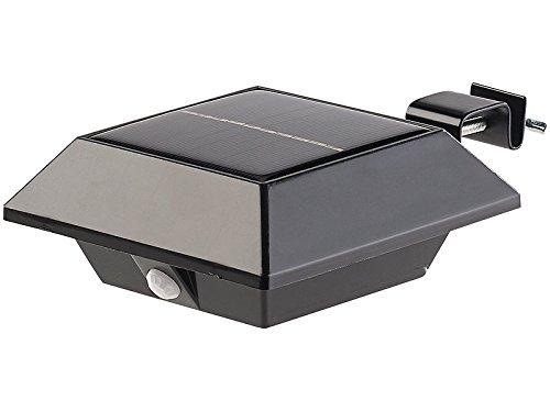 Lunartec Dachrinnenbeleuchtung: Solar-LED-Dachrinnenleuchte mit PIR-Sensor, 160 lm, 2 W, IP44, schwarz (Solar Dachrinnenbeleuchtung)
