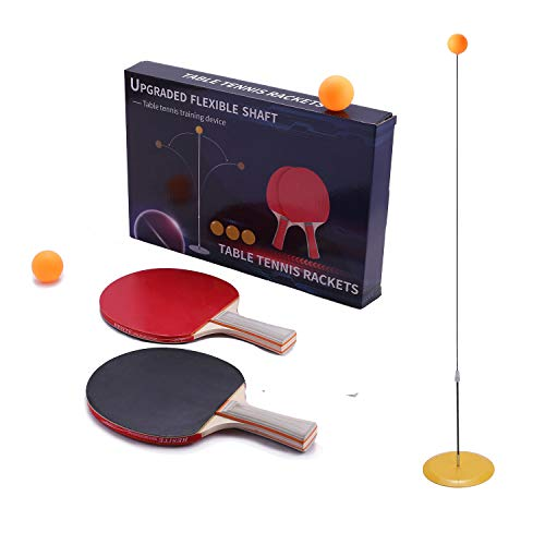 SIRUITON Table Tennis Trainer Elastic Shaft .Portable Table Tennis with Elastic Soft Shaft Leisure Decompression Sports for Adults and Kids Indoor Outdoor Play (2 pcs Paddle +3 pcs Ball)