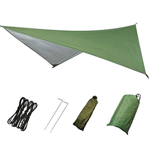 Gyratedream Auvent Abri Soleil Plage Camping en Plein Air Jardin Soleil Auvent Auvent Parasol Hamac Pluie Fly Tarp Tente Imperméable Ombre, Noir, Vert, Bleu, Camouflage