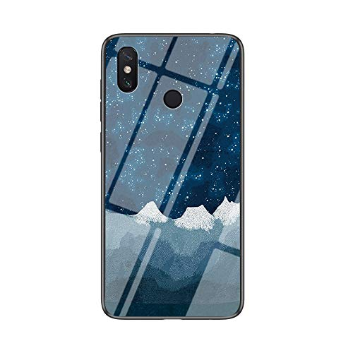 BeyondTop Funda para Xiaomi Mi Mix 3 5G Cubierta de Cristal Degradado de Color Caja de Vidrio Templado Case Cover para Xiaomi Mi Mix 3 5G (Azul Estrellado)