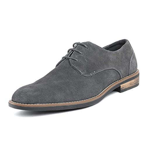 Bruno Marc Men's URBAN-08 Grey Suede Leather Lace Up Oxfords Shoes – 8.5 M US