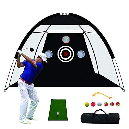 TTCB Sports Golf Net, Golf Practice Net with Chiping Net, with Swing Corrector and Golf Practice Mat, Golf Nets for Backyard Driving (Black net+Swing Corrector + Practice Mat)