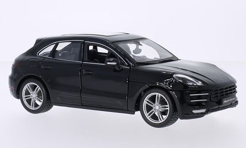 Porsche Macan Turbo, schwarz, Modellauto, Fertigmodell, Bburago 1:24