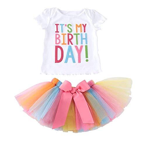 Paisdola Bambinee Ragazze T-Shirt con Ricamo Compleanno e Gonna a Pieghe Gonna di Tulle Balletto in Tulle (Short Sleeve,110)