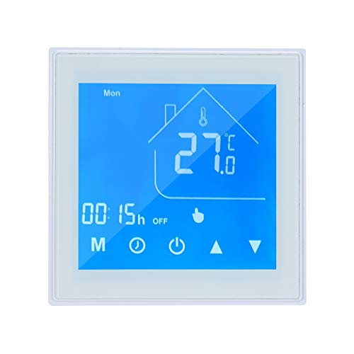 OWSOO Termostato Inteligente WiFi, Pantalla LCD, Semana Programable, Termostato para Calefacción por Suelo Radiante Eléctrica, Control de App Tuya, Compatible con Alexa Google Home, Blanco