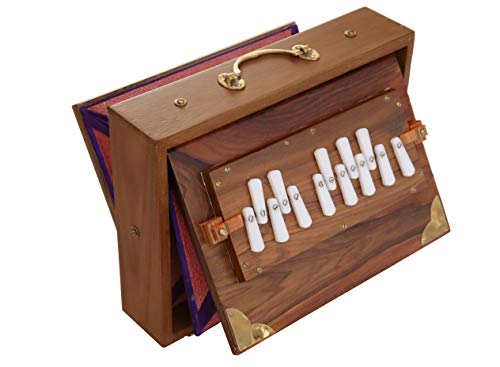 Shruti Box Raga, professionelles Modell, aus Teak-Holz, C-Tonleiter (c3 bis c4), 30 x 22 x 8,5 cm, Gewicht 2 kg, gestimmt auf 440 Hz (432 Hz auf Anfrage).
