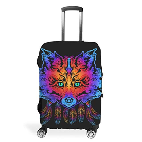 Dreamcatcher Fox Animal Brilliant Various Types Suitcase Protector Anti-Scratch 19 to 32 Inch for Luggage White m (60x81cm)