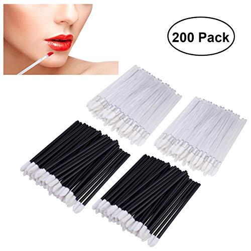 PIXNOR Einweg-Lippe Lippenpinsel 200pcs Bürsten Lippenstift Gloss Zauberstäbe Applikator Make-up Tool-Kits - 100pcs schwarz und 100pcs weiß