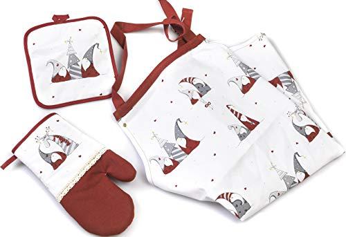 Paben Noel Set de cuisine tablier en forme de gant de four avec inscription « Noël » en tissu