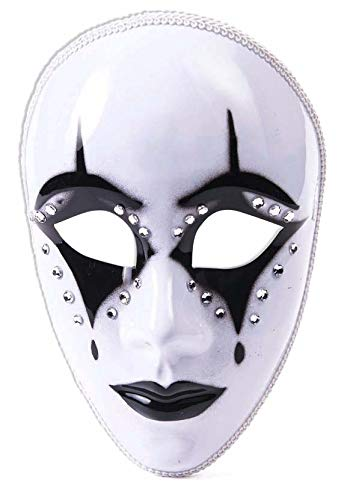 Forum Novelties Full Face Harlequin Mask, Black/White