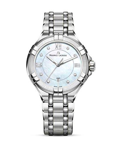 MAURICE LACROIX Schweizer Uhr Aikon AI1004-SS002-170-1 Damen Armbanduhr mit acht Diamanten kratzfestes Saphirglas 10 bar