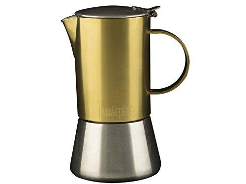 La Cafetière Edited 4-Tassen-Espressokocher für den Herd, in gebürstetem Gold, für Induktionskochfelder geeignet, 200 ml (7 fl oz)