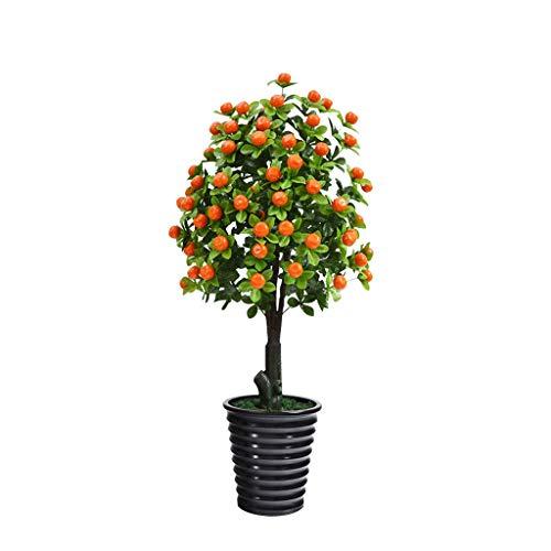 Zunruishop falska växter konstgjord grönväxt kruka plast syntetisk frukt apelsinträd vardagsrum dekoration konstgjord växt frukt dekoration för Home Office hotell konstgjord växt (färg: B)