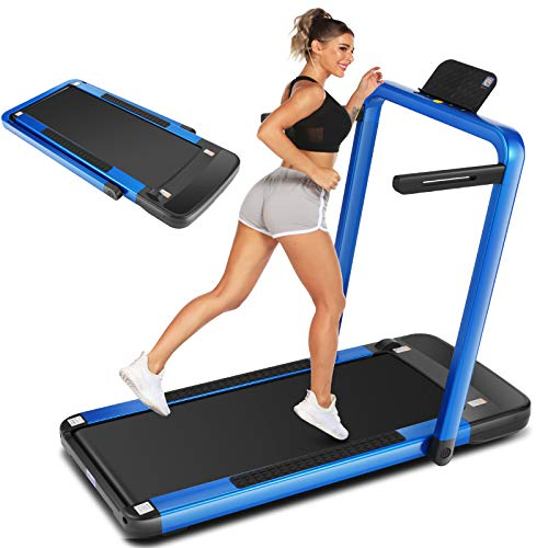 ANCHEER 2-in-1 Folding Treadmill, 2.25HP Portable Under Desk Treadmill with APP, Remote Control, and LED Display, Installation-Free,Best Compact Treadmill for Home Gym Office Use