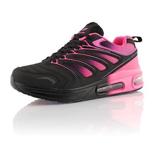 Fusskleidung® Damen Herren Sportschuhe Dämpfung Sneaker leichte Laufschuhe Pink Pink Schwarz EU 38