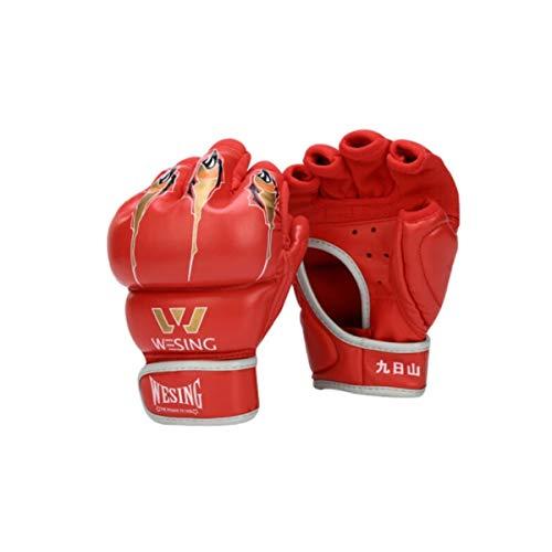 KUQIQI Halbfinger Boxhandschuhe, Adult Sanda Martial Arts Kampfhandschuhe, Taekwondo Sandsack Sandsackhandschuhe, 6 oz, 7 oz Sport Boxhandschuhe, (Color : Red, Size : 7oz)