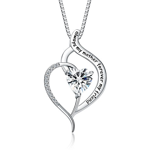 FANCYCD 'Always My Mother Forever My Friend' Love Heart Necklace, 18', Special Jewelry for Women, Mother's Day Gifts for Mom, Wife, Aunt, Grandma...