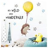 Little Deco Sticker Spruch sei wild & Igel I Wandbild M - 107 x 57 cm (BxH) I Luftballon Wandtattoo Kinderzimmer Junge Tiere Wandbilder Deko Babyzimmer Kinder DL321