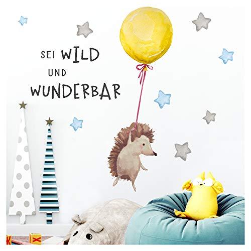 Little Deco Sticker Spruch sei wild & Igel I Wandbild S - 67 x 36 cm (BxH) I Luftballon Wandtattoo Kinderzimmer Junge Tiere Wandbilder Deko Babyzimmer Kinder DL321