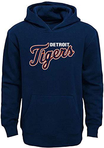 MLB Youth 8-20 Team Color Fleece Wordmark Logo Pullover Sweatshirt Hoodie (Detroit Tigers Navy, 10-12)