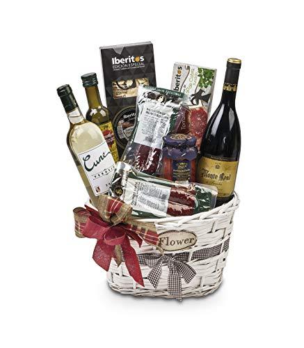 Sadival Cesta Gourmet de Navidad con Vino Tinto D.O. Rioja y blanco Cvne Verdejo con Ibéricos de Bellota