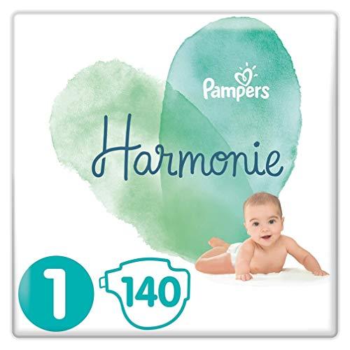 Pampers Couches Harmonie Taille 1 (2-5kg) 0% de compromis, 100% d'absorption, Ingrédients d'origine végétale, Hypoallergéniques, 140 Couches (Pack Familial)