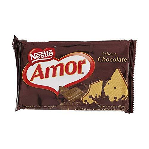 Amor- Nestl-e - Galletas Wafer Rellenas con Deliciosa Crema Sabor a Chocolate - Ideal para Cualquier Momento del Día - 3 Unidades de 100 Gramos - 300 Gramos Total -