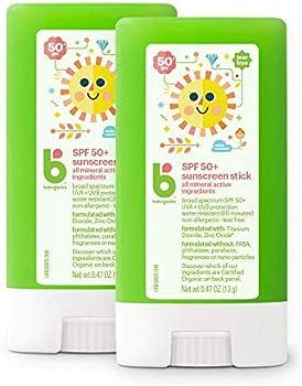 2-Pack Babyganics SPF 50 Travel Size Baby Sunscreen Stick
