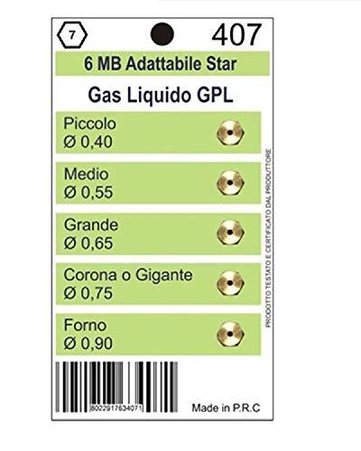 KIT 5 UGELLI INIETTORI A GAS BOMBOLA GPL PER CUCINE E PIANI COTTURA 6 MB