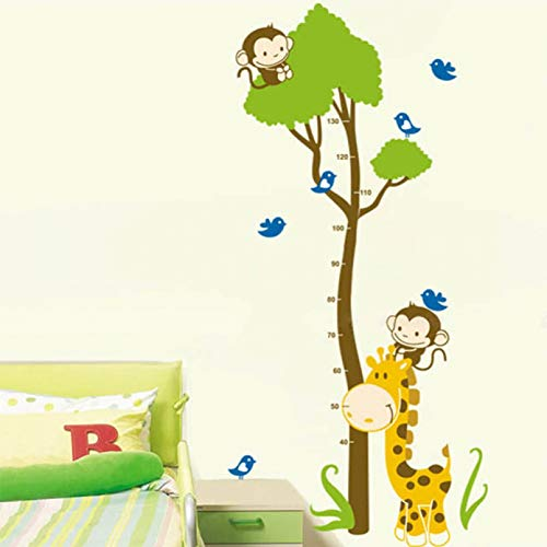 GEYKY Tiger Monkey Birds Tree Removable Height Measure Wall Stickers for Kids Room Wall Decal Home Decals Growth Height Stickers