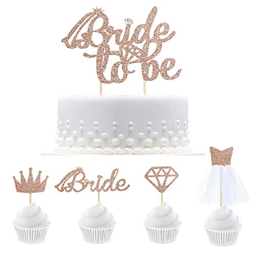 25 roségoldfarbene Glitter-Bride To Be Cake Toppers mit Diamond,Crown,Bride,3D Wedding Dress Cupcake Toppers für Bridal Shower Supplies, Engagement, Bachelorette Hen Party Dekoration