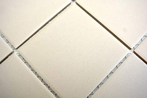 Handmuster Mosaik Fliese Keramik hellbeige unglasiert Duschtasse Bodenfliese MOS22-1202-R10_m