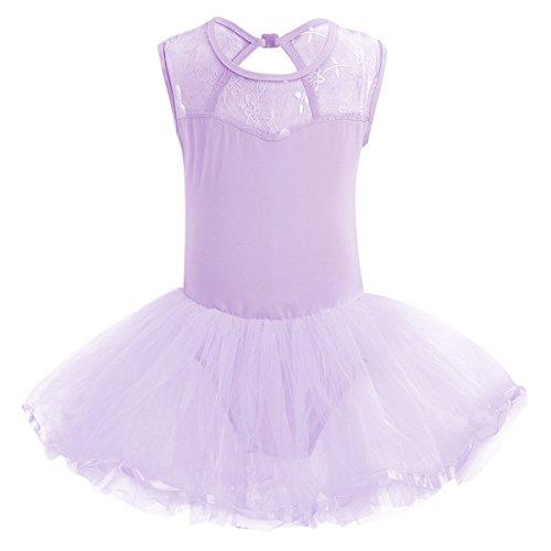 TiaoBug Girls Mesh Floral Ballet Dance Leotard Fairy Tutu Dress Dance Costume Lavender 5-6