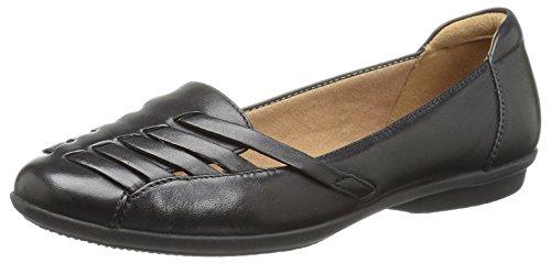 Clarks Women's Gracelin Gemma Loafer Flat, Black Leather, 8.5 Medium US