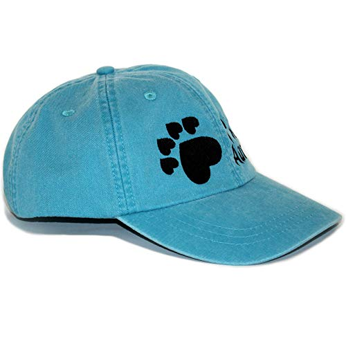 Dog Mom Hat for Women, Dog Dad Hat for Men - Adjustable Embroidered Baseball Cap with 5-Heart Paw, Vintage Washed Look Cotton Caribbean Blue Hat