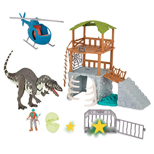Terra by Battat - Jungle Expedition Big Playset– Electronic Dinosaur Acrocanthosaurus & Helicopter with 2 Surprise Dinosaur Toys for Kids Age 3+ (13 Pc)