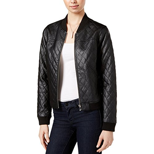 Bar III Faux-Leather Quilted Bomber Jacket, Black (XXS) (Bar Iii Faux Leather Quilted Bomber Jacket)