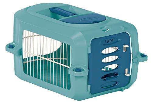 Suncast Portable Dog Crate with Handle for Small & Medium Dogs – Bowl Included – Stylish & Durable Portable Pet Carrier – Dogs up to 20 lbs. – Light Blue