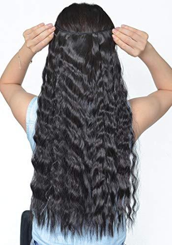 22 (55cm) Extensiones de Cabello Clip Una Pieza Pelo Sintetico Se Ve Natural Rizado Ondulado Corn Wave Hair Extensions (120g,Negro Natural)